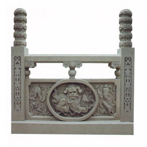 传统瑞兽雕刻石材栏杆